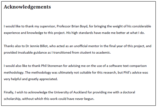 Image of an acknowledgements page thanking the researcher's supervisor, mentor, methodological advisor, and university.