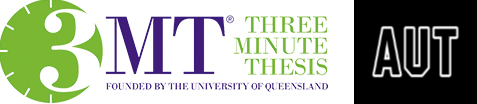 3 Minute Thesis logo and AUT logo