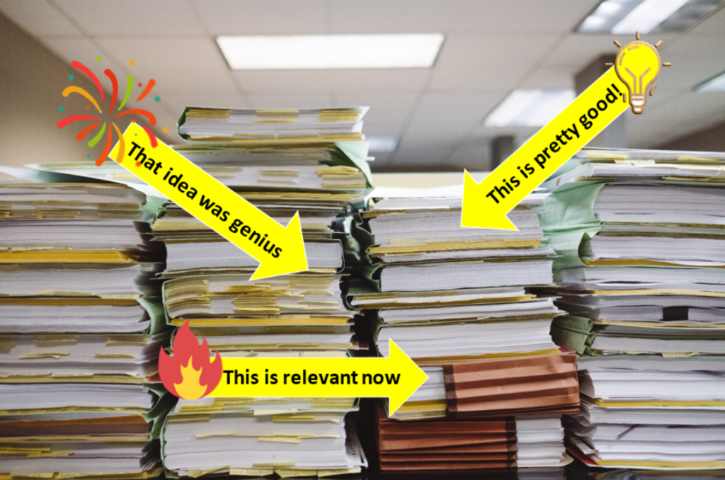 Stacks of files with arrows pointing to the parts that are good quality or still usable.