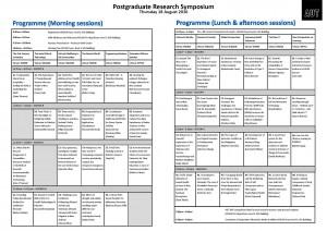 Programme - 2016 Postgraduate Research Symposium