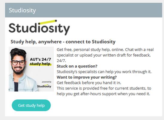 Studiosity panel on Blackboard home page