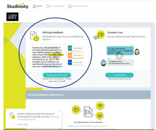 Studiosity home page