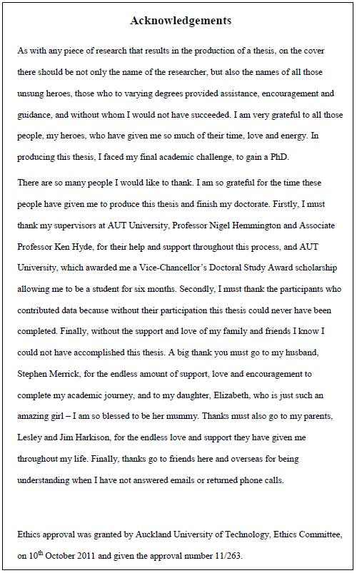 Image of an acknowledgements page thanking supervisors, the researcher's husband, and daughter.
