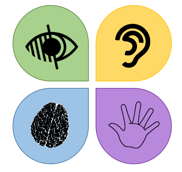 Icon representing impairments to vision, hearing, cognitive function, and motor function.