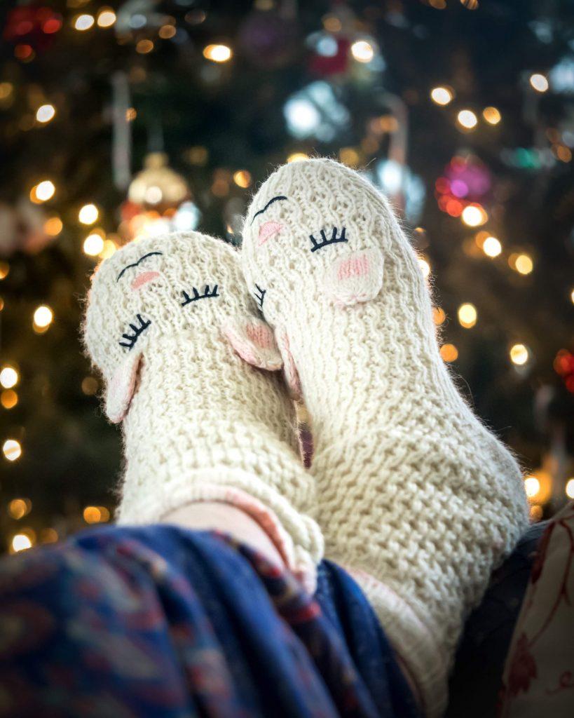 Feet in fluffy socks